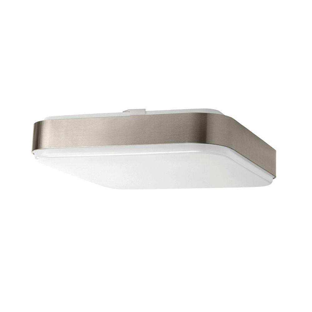 Hampton Bay 14 In Brushed Nickel Led Flushmount Ceiling Light Fixture 54619141 Walmart Com Walmart Com