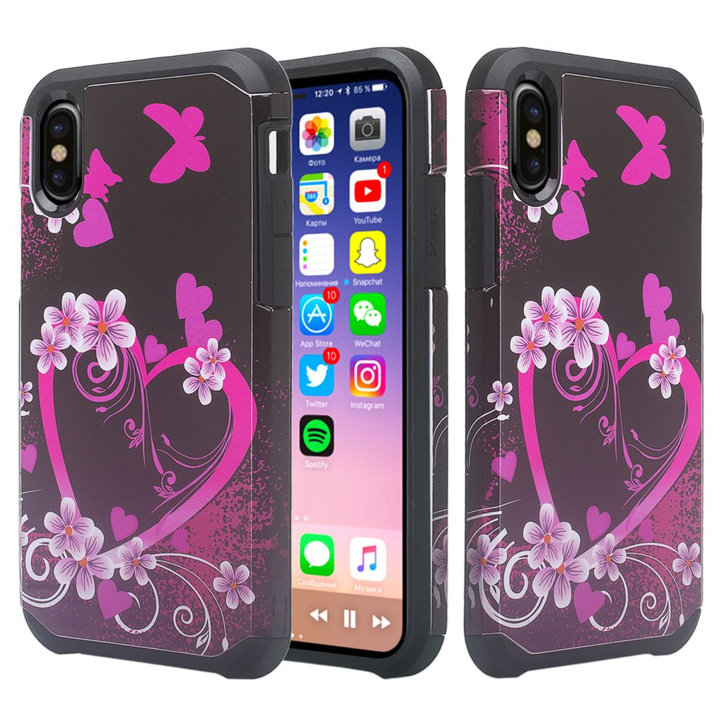 Apple Iphone Xr Case Cover Dual Layer Hybrid Shock Proof Case Cute Girls Women Protective Cover For Iphone Xr Hot Pink Heart Walmart Canada