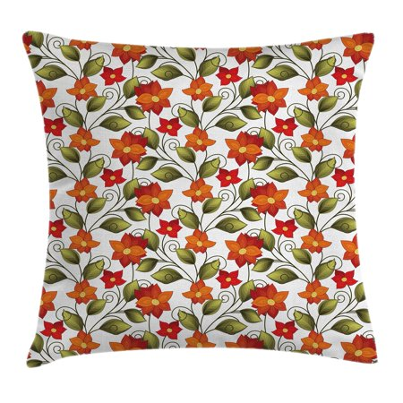 Red Orange Green - Floral Throw Pillow Cushion Cover, Victorian Fleur-de-Lis Lily Blooms Nature Inspired Boho Herbs Graphic, Decorative Square Accent Pillow Case, 18 X 18 Inches, Red Orange Olive Green, by Ambesonne