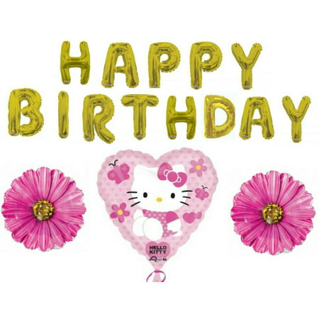 Happy Birthday Hello Kitty Letters Party Balloons Decoration Supplies - Hello Kitty Halloween Birthday Party