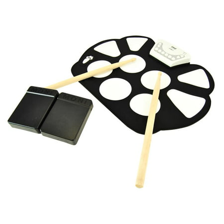 Pyle PTEDRL11 - Electronic Drum Kit - Portable Drumming Machine, Compact Quick Setup Roll-Up Design ()