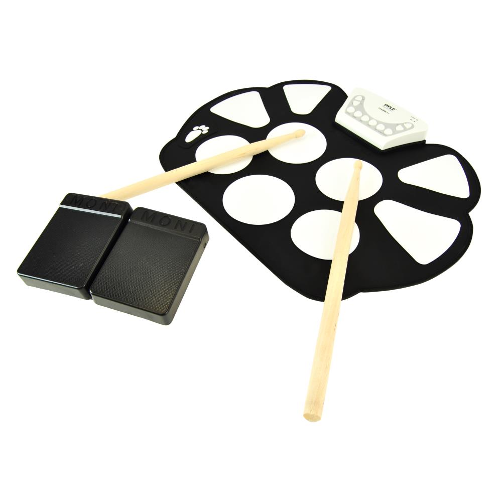 Pyle PTEDRL11 - Electronic Drum Kit - Portable Drumming Machine, Compact Quick Setup Roll-Up Design