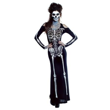 Women's Bone Appetit Skeleton Long Dress Costume (Womens Skeleton Costume)