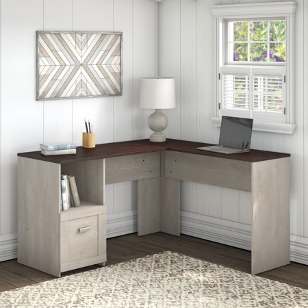 Bush Furniture Townhill 54W L Shaped Desk in Washed Gray and Madison Cherry