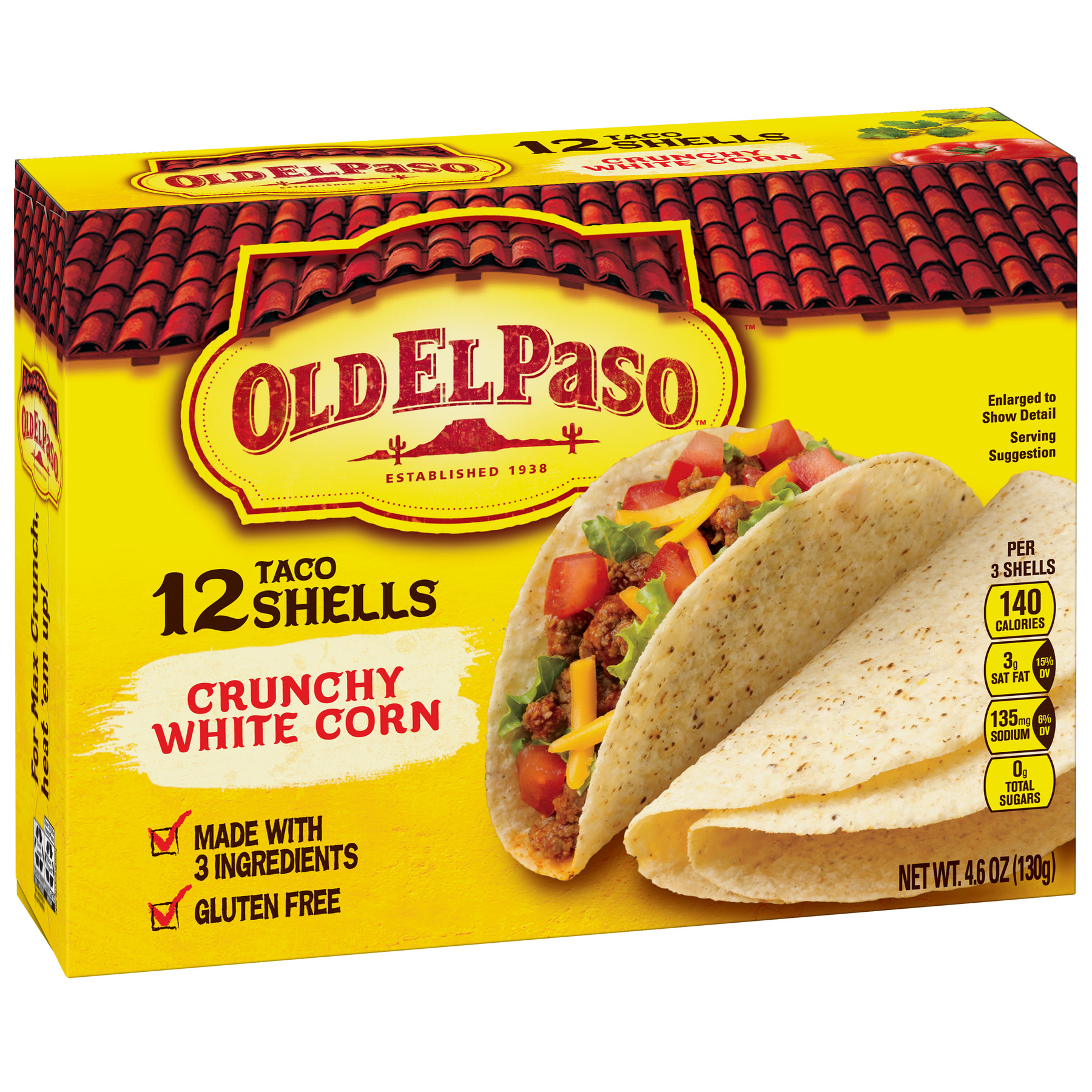 Old El Paso Crunchy White Corn Shells, 12 Ct, 4.6 oz