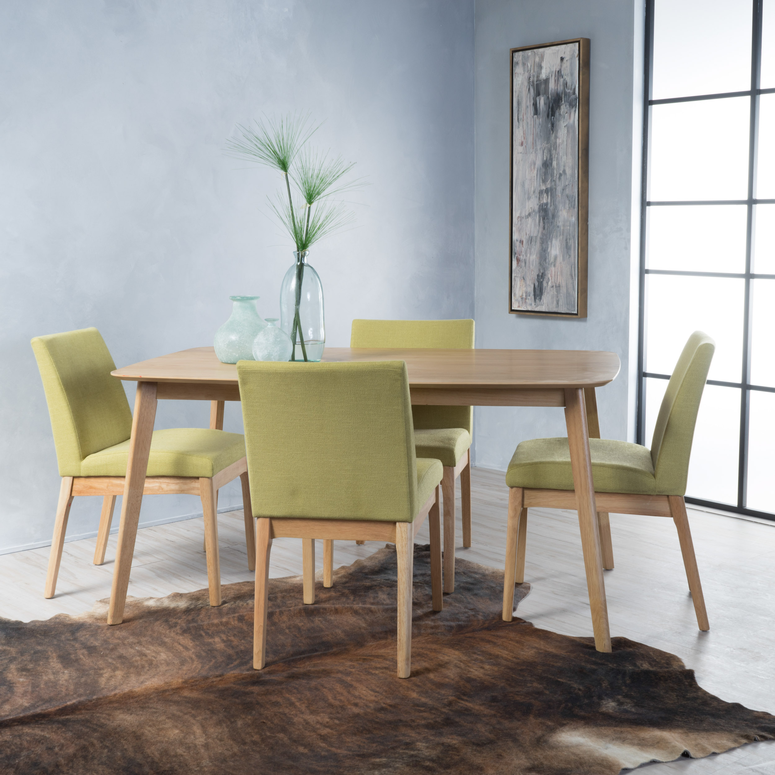 Noble House Caruso Natural Oak Wood Green Tea 5 Piece Dining Set
