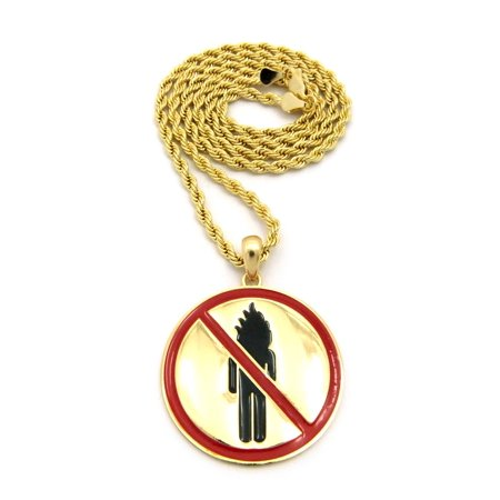 "Rapper Music Video Monster Logo Pendant with Chain Necklace - 3mm 18"" Gold-Tone Rope Chain Necklace"