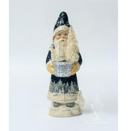 Vaillancourt Folk Art Blue Santa with Silver Bowl and Winter Scene Chalkware Scene Folk Art