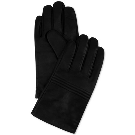 Calvin Klein Men's Quilted Leather Knuckle Gloves Large Black