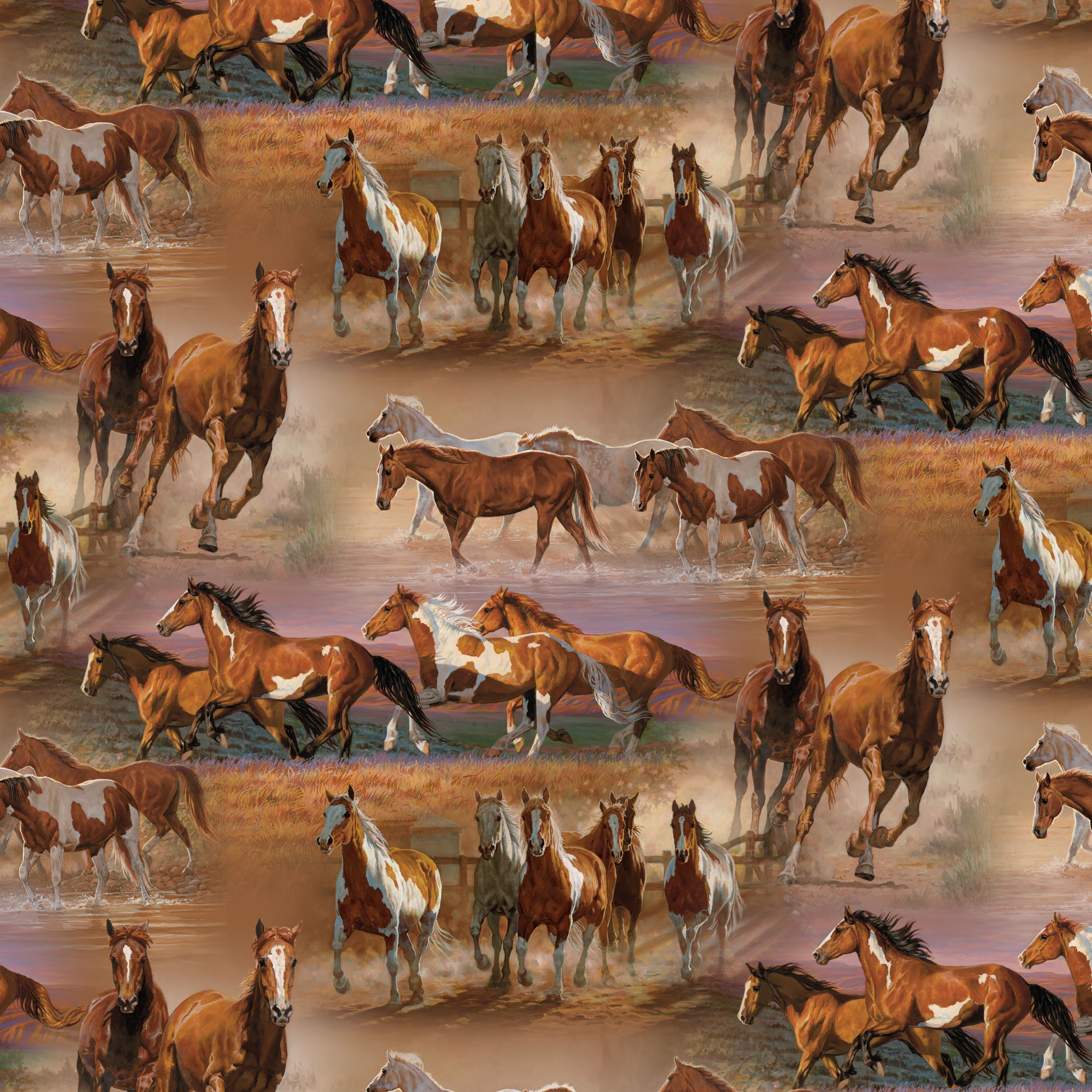 "David Textiles Cotton 36"" x 44"" Horses in the Field Pre-Cut Fabric, 1 Each"