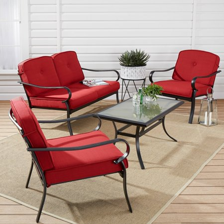 Swan Patio Loveseat (Mainstays Carson Creek 4-Piece Patio Loveseat Set with Red Cushions)