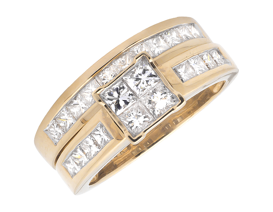 Ladies Yellow Gold Princess-Cut Diamond Bridal Set Ring (1.50ct) by Jewelry Unlimited