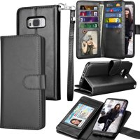Galaxy S8 Plus Case, S8 Plus Wallet Case, Samsung Galaxy S8+ PU Leather Case, Tekcoo Luxury Cash Credit Card Slots Holder Folio Flip Cover [Detachable Magnetic Hard Case] & Kickstand - Black