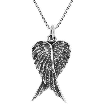 Beautiful and Elegant Heart Shaped Angel Wings Sterling Silver Necklace