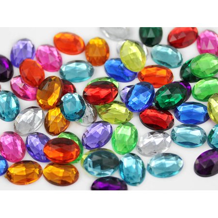 Oval Acrylic Gemstones High Quality Pro Grade 14X10mm Assorted Colors   125 Pieces