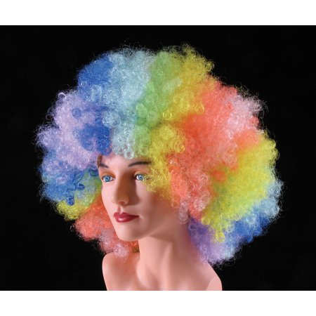 Star Power Huge Super Fro Clown Costume Afro Wig, Rainbow, One Size - Rainbow Afro Wig
