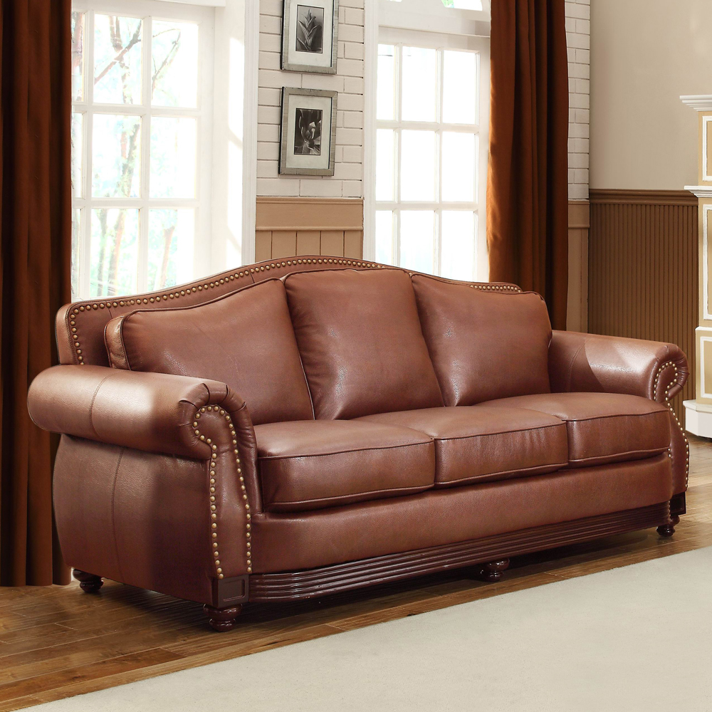 Home Elegance 9616BRW-3 Midwood Sofa in Dark Brown