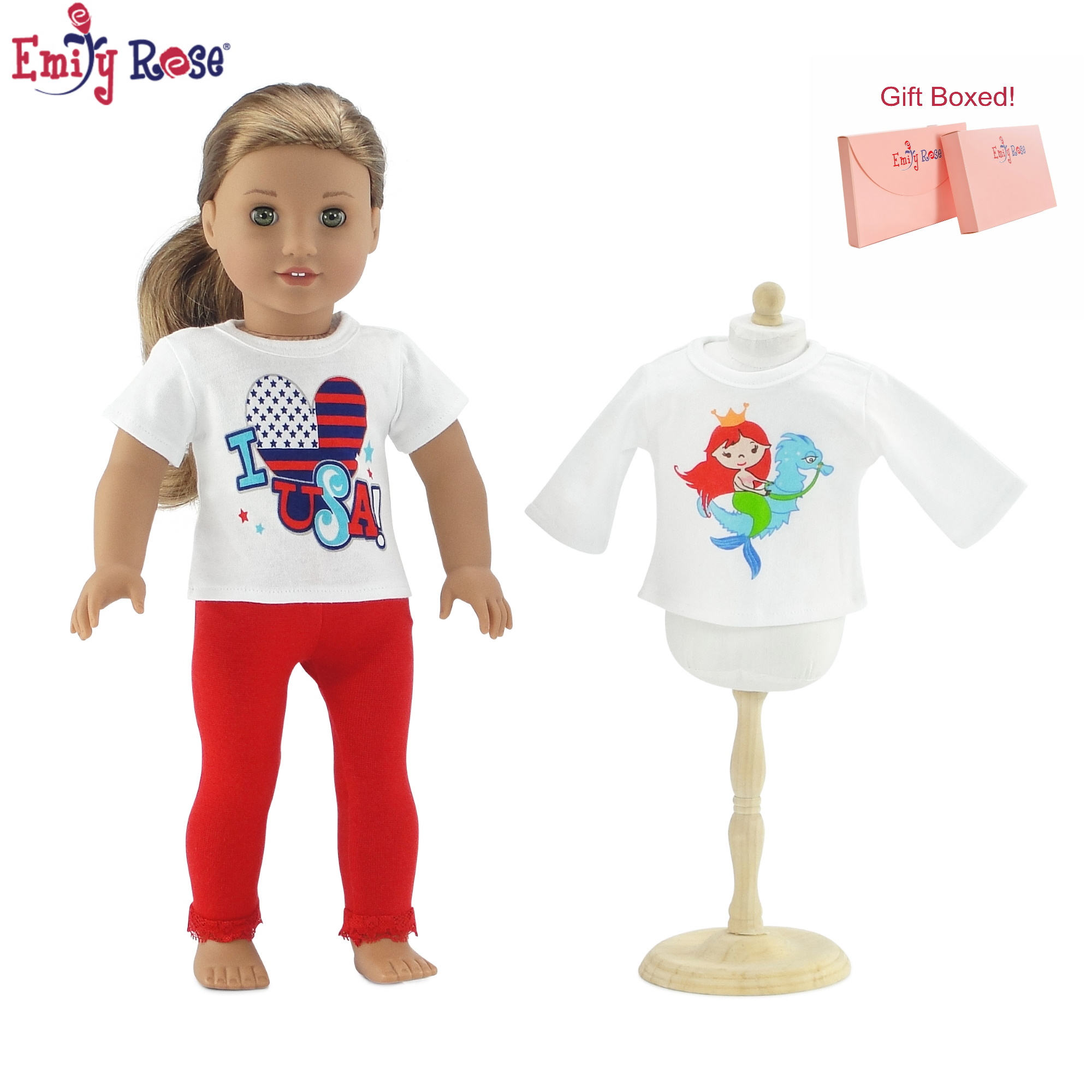 "Pink Short Sleeve Top with Horse Graphic Fits 18/"" American Girl  Dolls"