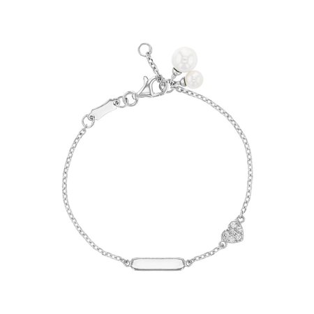 925 Sterling Silver Clear CZ Heart Simulated Pearl Tag ID Bracelet Girls (June Birthstone Girl)
