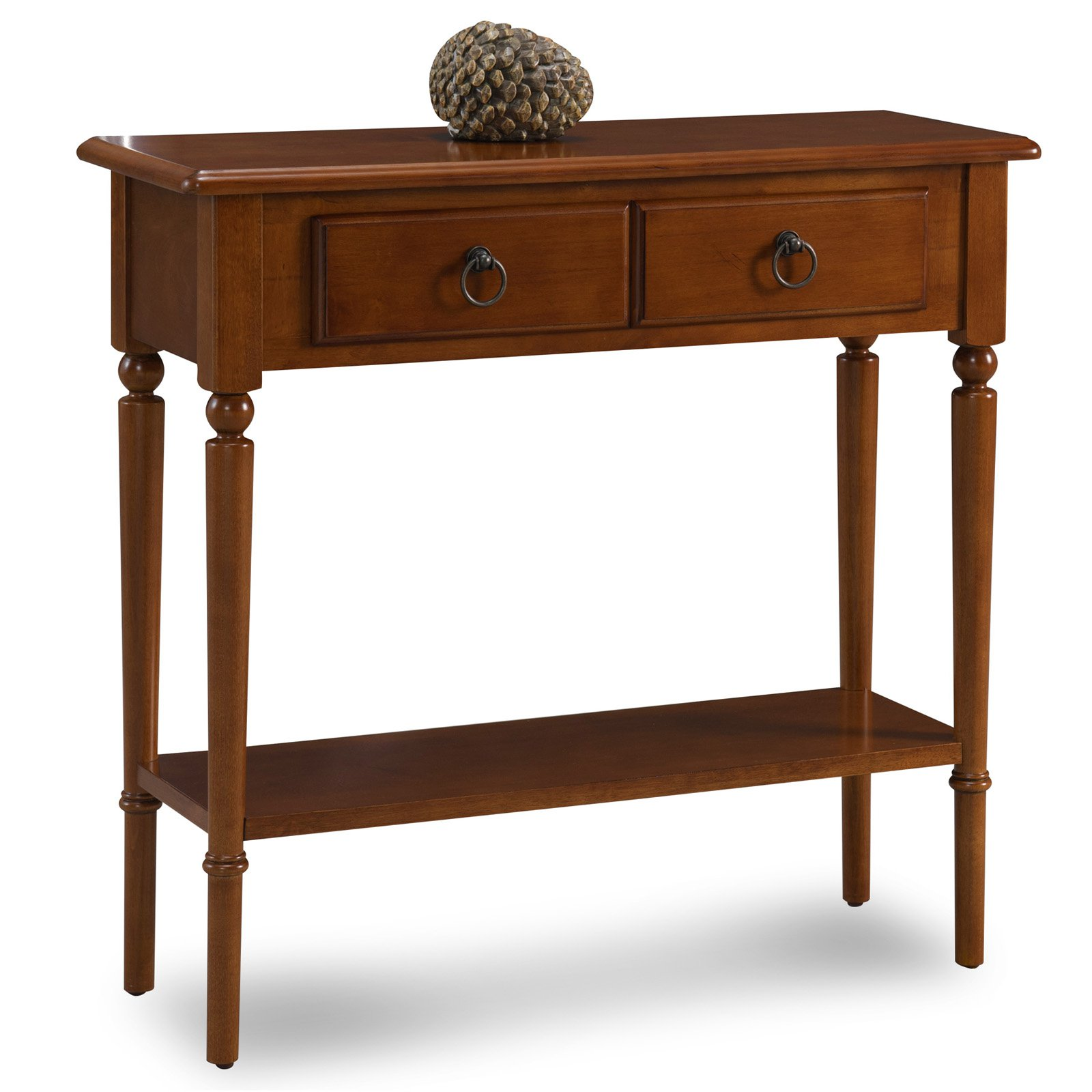 Leick Home Pecan Coastal Narrow Hall Stand/Sofa Table with Shelf
