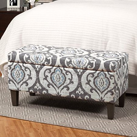 ModHaus Living Modern Blue Slate Damask Pattern Upholstery Storage Ottoman with Wood Frame - Includes Pen