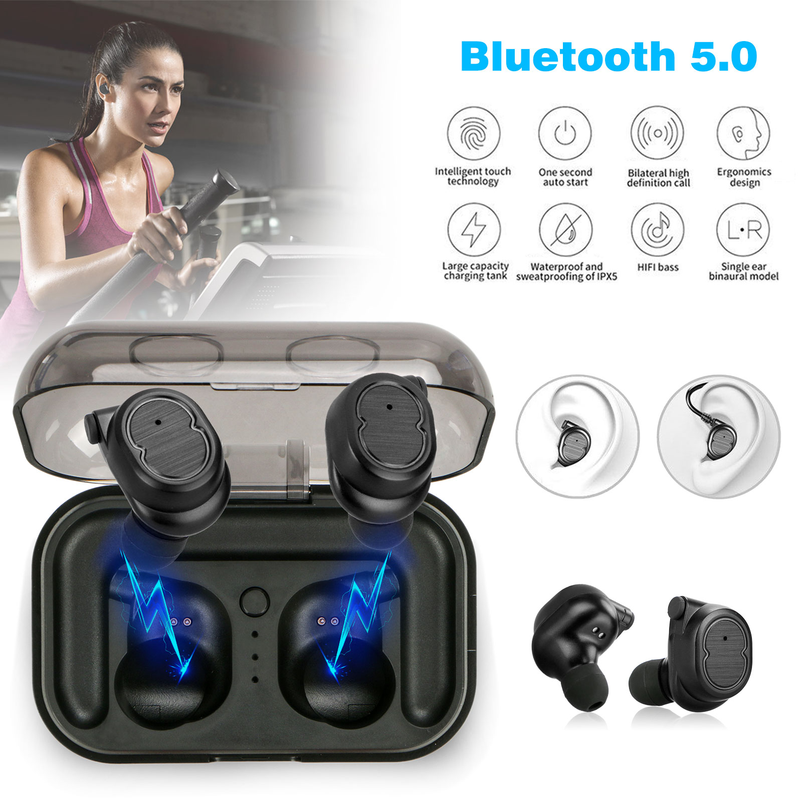 Wireless Earbuds, EEEKit Mini True Wireless Bluetooth 5.0 Earbud Sweatproof In-Ear HD Sound Headphone Touch Control Earphone Headset with Portable 500mAh Charging Case