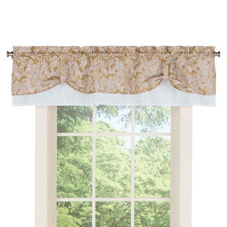 Valance Curtain Patterns - Paisley Pattern Rod Pocket Curtain Window Valance Topper, Sand