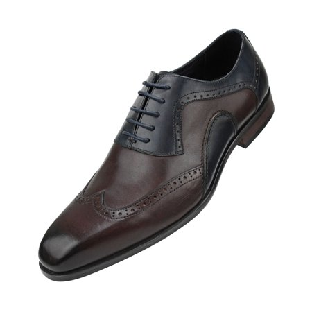 Asher Green Mens Genuine Leather Burnished Oxford Wingtip Dress Shoe, Lace-up Single Monkstrap Avalible in Brown