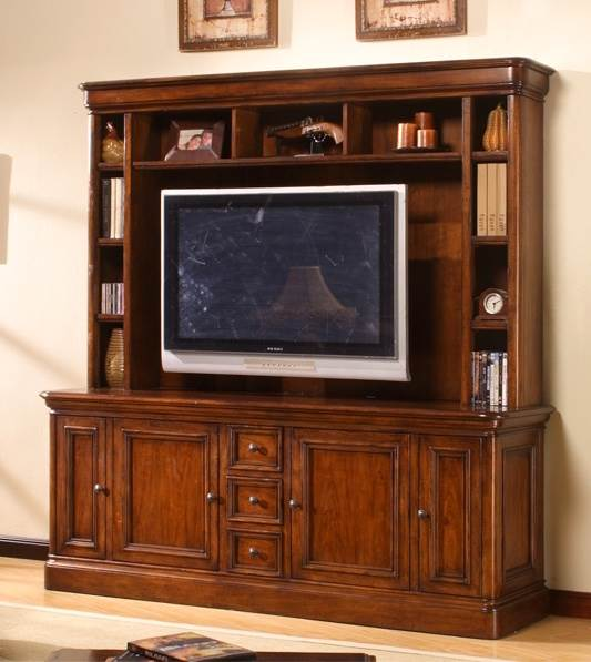 Entertainment Console with Hutch Set in Brown Cherry