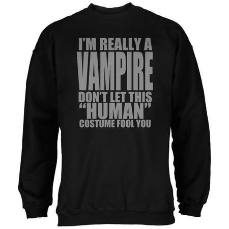 Halloween Human Vampire Costume Black Adult Sweatshirt](Halloween Face Paint Vampire For Men)