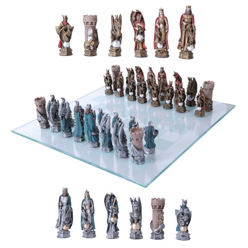 King Arthur Legend Merlin Dragons And Magic Hand Painted Resin Chess Pieces With Glass Board Set by Gifts & Decors