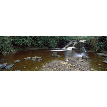 Waterfall in a forest Cheviot Hills Northumberland England Stretched Canvas - Panoramic Images (27 x 9)