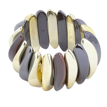 Unique Bargains Unique Bargains Ladies Plastic Arc Shape Beaded Stretch Bracelet Bangle Gold Tone Brown