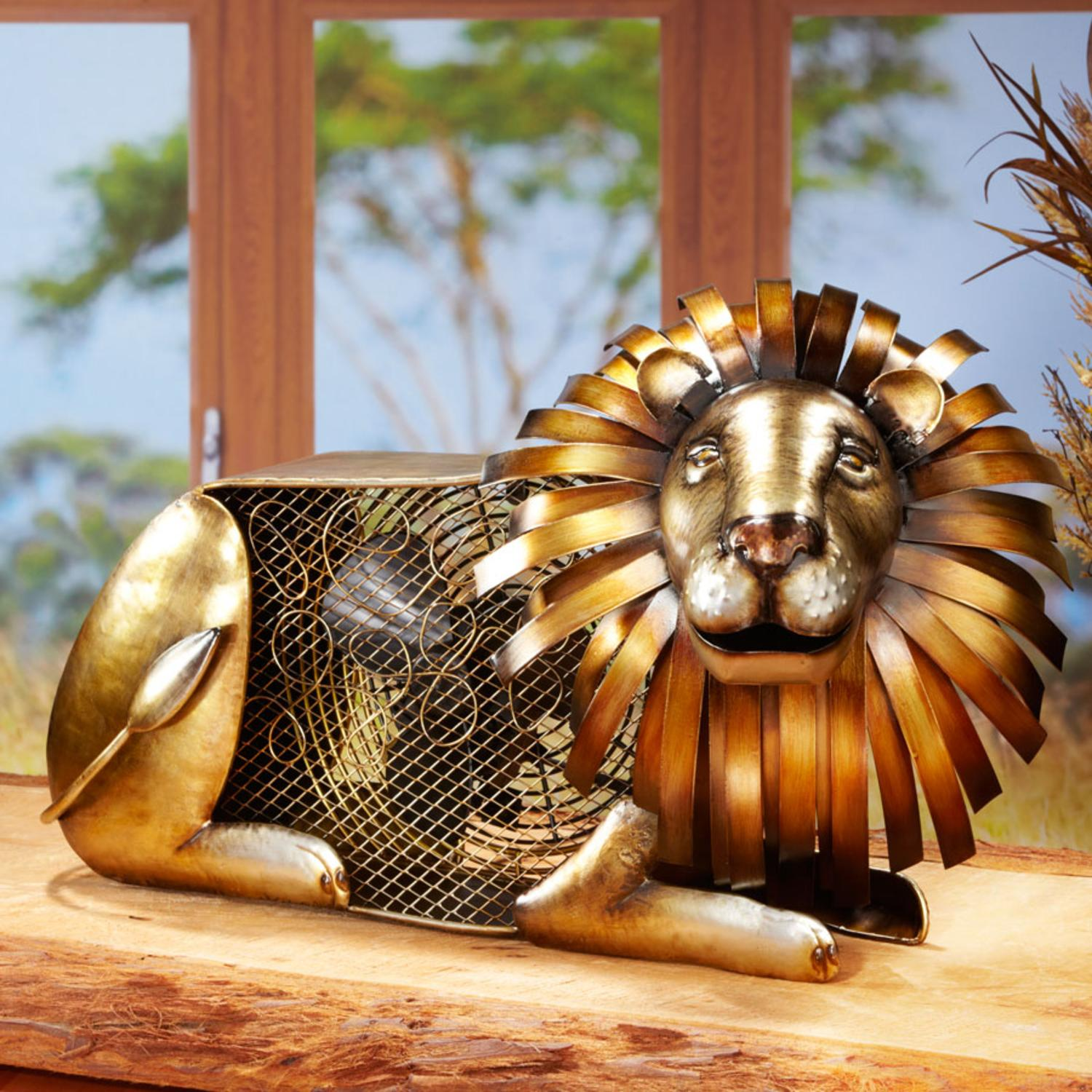 "13"" Exquisite Hand Sculpted Mr. Jungle Lion Table Top Figure Fan"