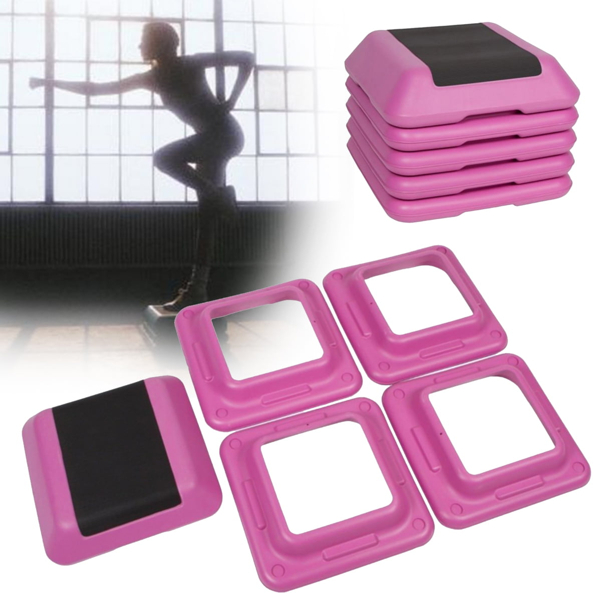 16/'/' Aerobic Step 4 Risers Fitness Exercise Stepper Cardio Workout Pedals