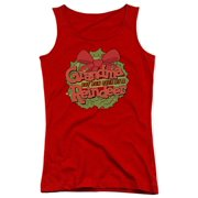 Grandma Got Run Over By A Reindeer Grandma Logo Juniors Tank Top Shirt