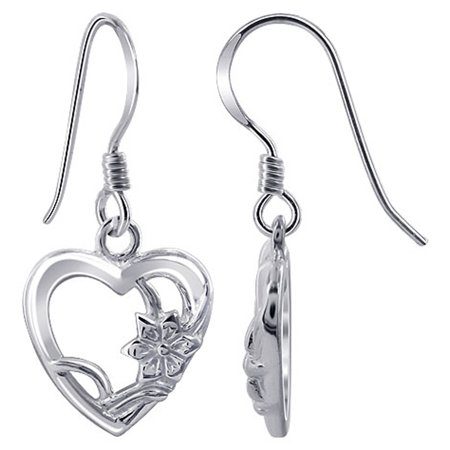 Gem Avenue 925 Sterling Silver Heart Shape French Hook Drop (Sterling Silver French Hook Earrings)