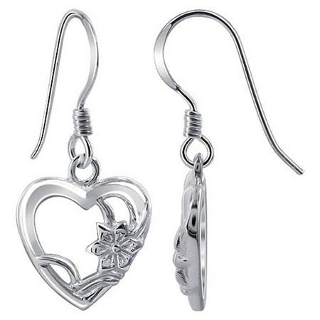 Gem Avenue 925 Sterling Silver Heart Shape French Hook Drop Earrings ()