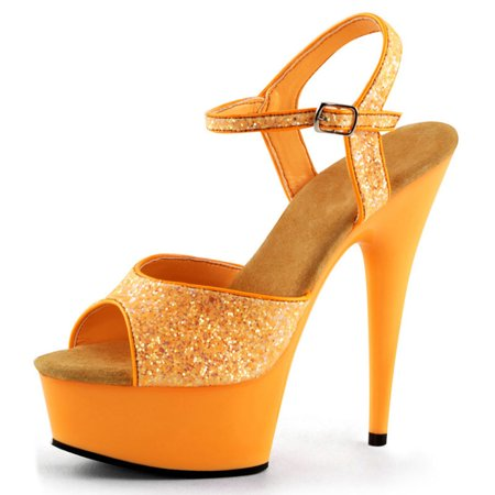 Bright Tangerine Orange High Heels UV Reactive with Glitter and 6 Inch Heels