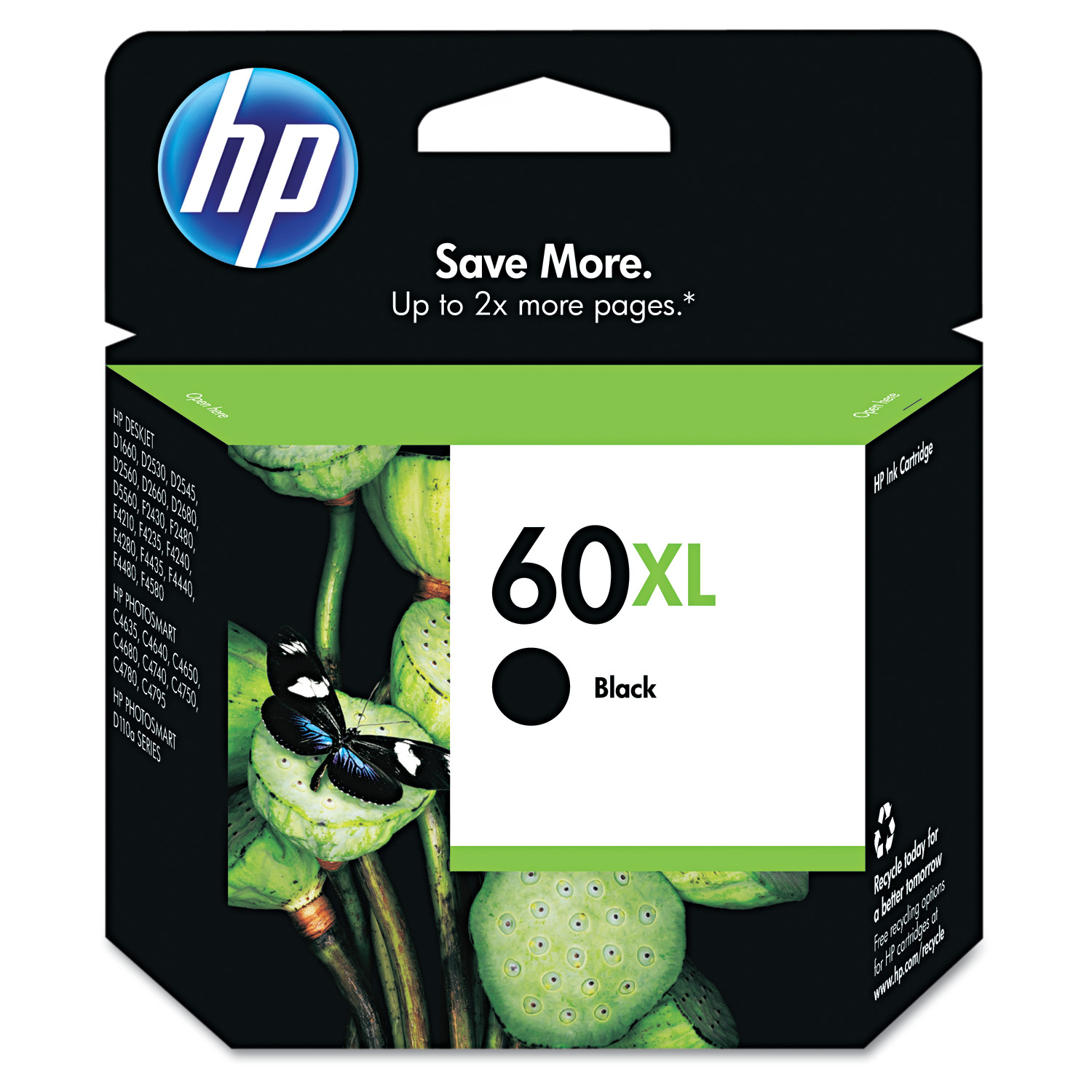 HP 60XL, (CC641WN) High Yield Black Original Ink Cartridge