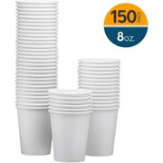 NYHI 150-Pack 8 oz paper cups – Hot/Cold Beverage Drinking paper water cups disposable for, Juice, Coffee or Tea – Ideal for Water Coolers, Party, or Coffee On the Go'