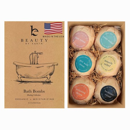 Bath Bombs Gift Set; Organic and Natural Large and Luxurious Vegan Fizzies, Lush Fragrant Essential Oils, Surprise Gift for Men, Women and Kids; Best Relaxing Epsom Salt Luxury Spa Soak (6 Pack