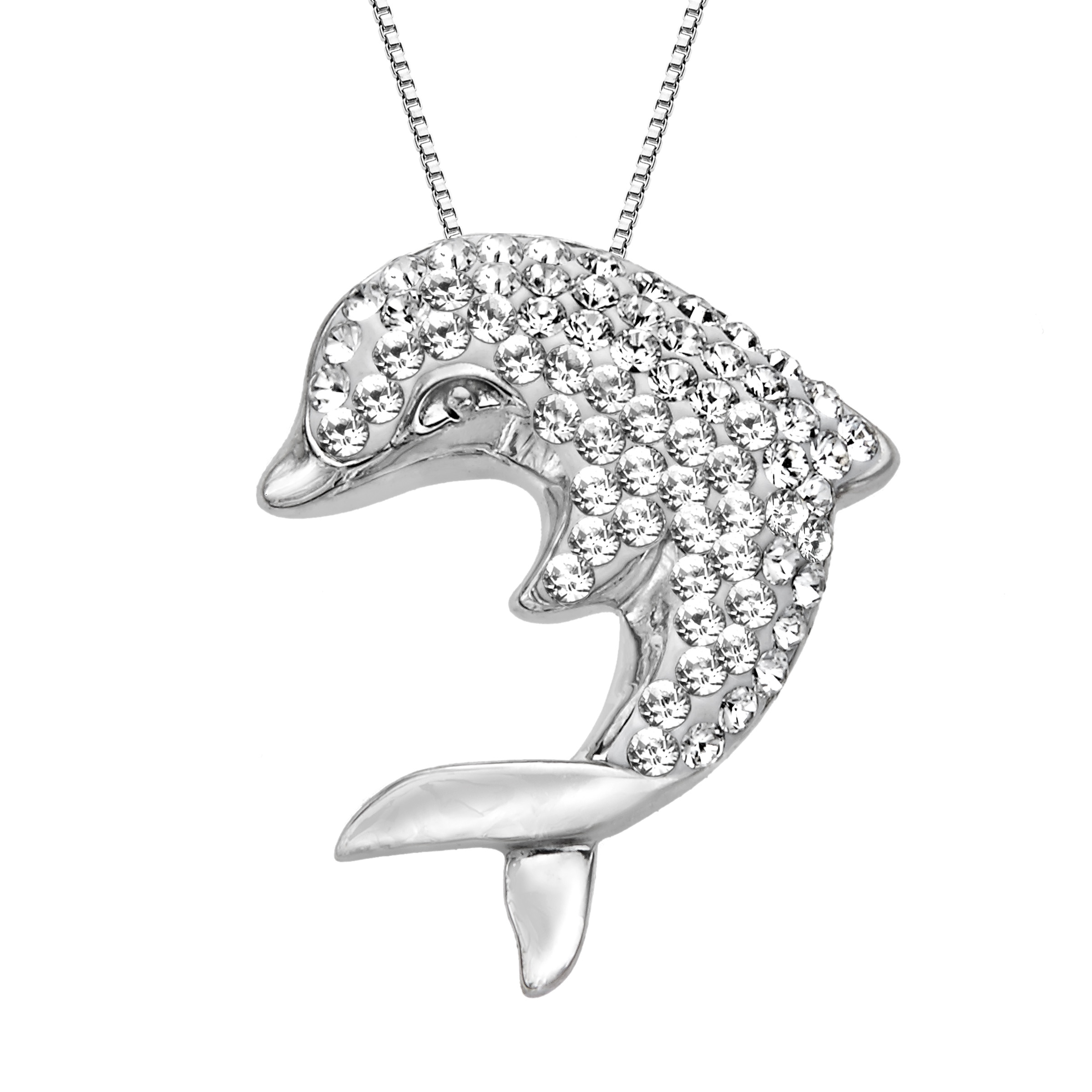 Luminesse Dolphin Pendant Necklace with Swarovski Crystals in Sterling Silver