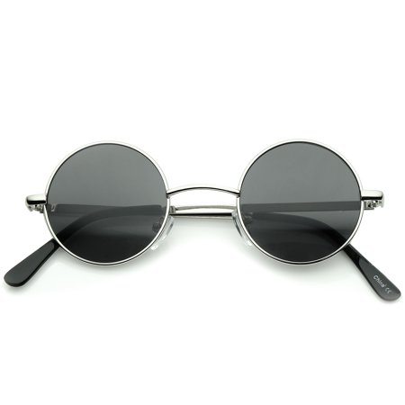 Small Retro Lennon Inspired Style Neutral-Colored Lens Round Metal Sunglasses 41mm - (How To Style Round Sunglasses)