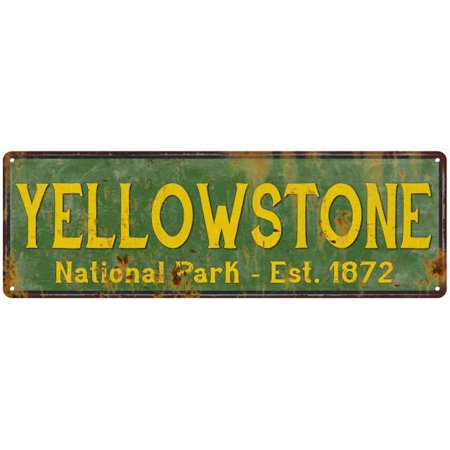 Yellowstone National Park Rustic Metal 8x24 Sign Cabin Wall Decor 108240057032
