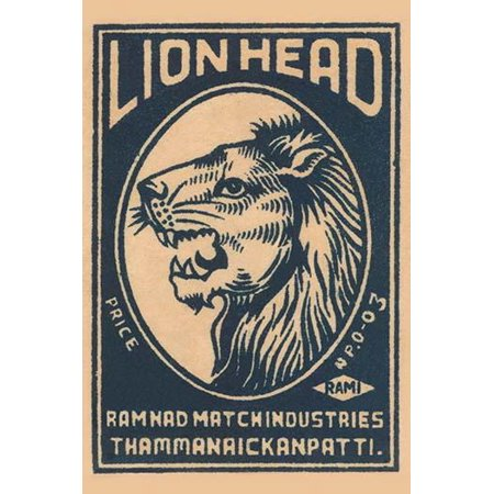A brand of matches made in India for export featuring a lion on the box top art Poster Print by (Best Bank For Export Business In India)