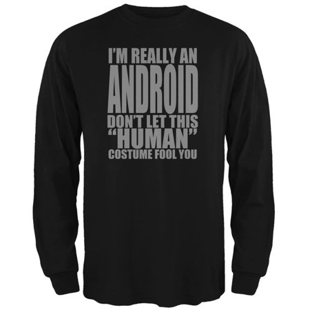 Halloween Human Android Costume Mens Long Sleeve T Shirt - Android Halloween