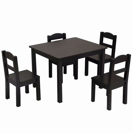 5pcs Children Play Table Chair Set Pine Wooden Kids Dark Brown