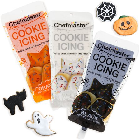 U.S. Cake Supply 3 Color Cookie Icing Halloween Theme Pack - 7oz Ready To Use Decorating Pouches - Black, Orange, White