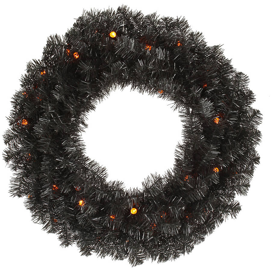 "Vickerman 30"" Black Pine Wreath G12 30LED Orange"